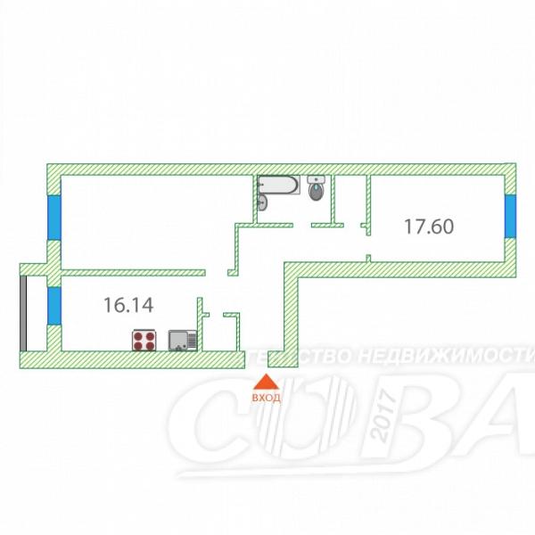 2 комнатная квартира  в районе Дом Обороны, ул. Льва Толстого, 64, г. Тюмень