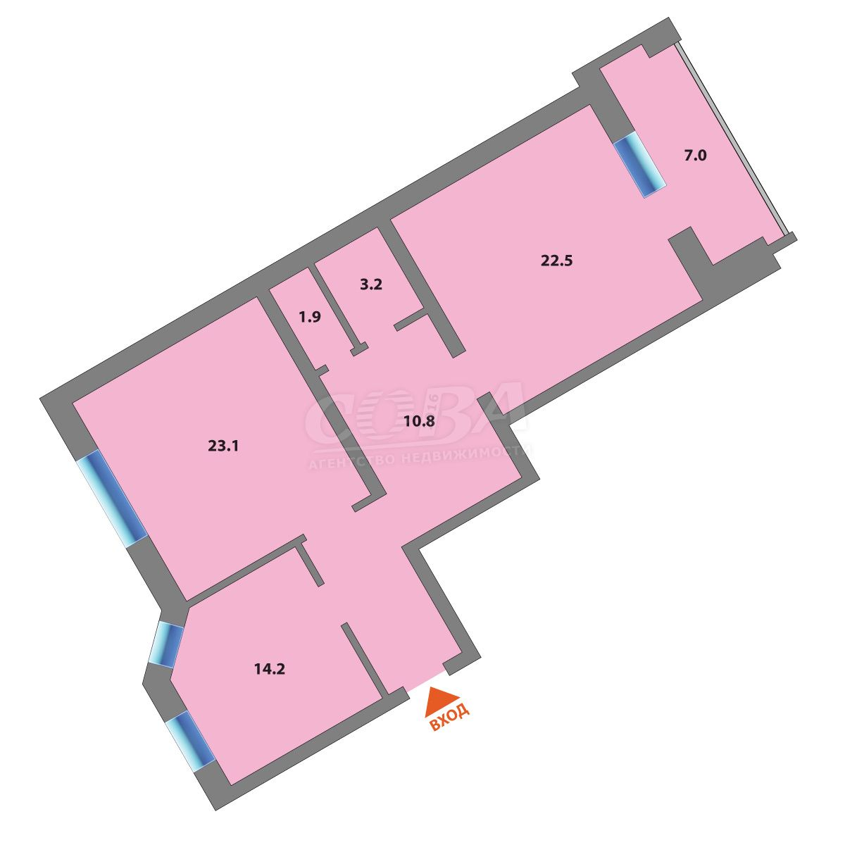 2 комнатная квартира  в районе Стрела, ул. Карла Маркса, 12/1, г. Тюмень
