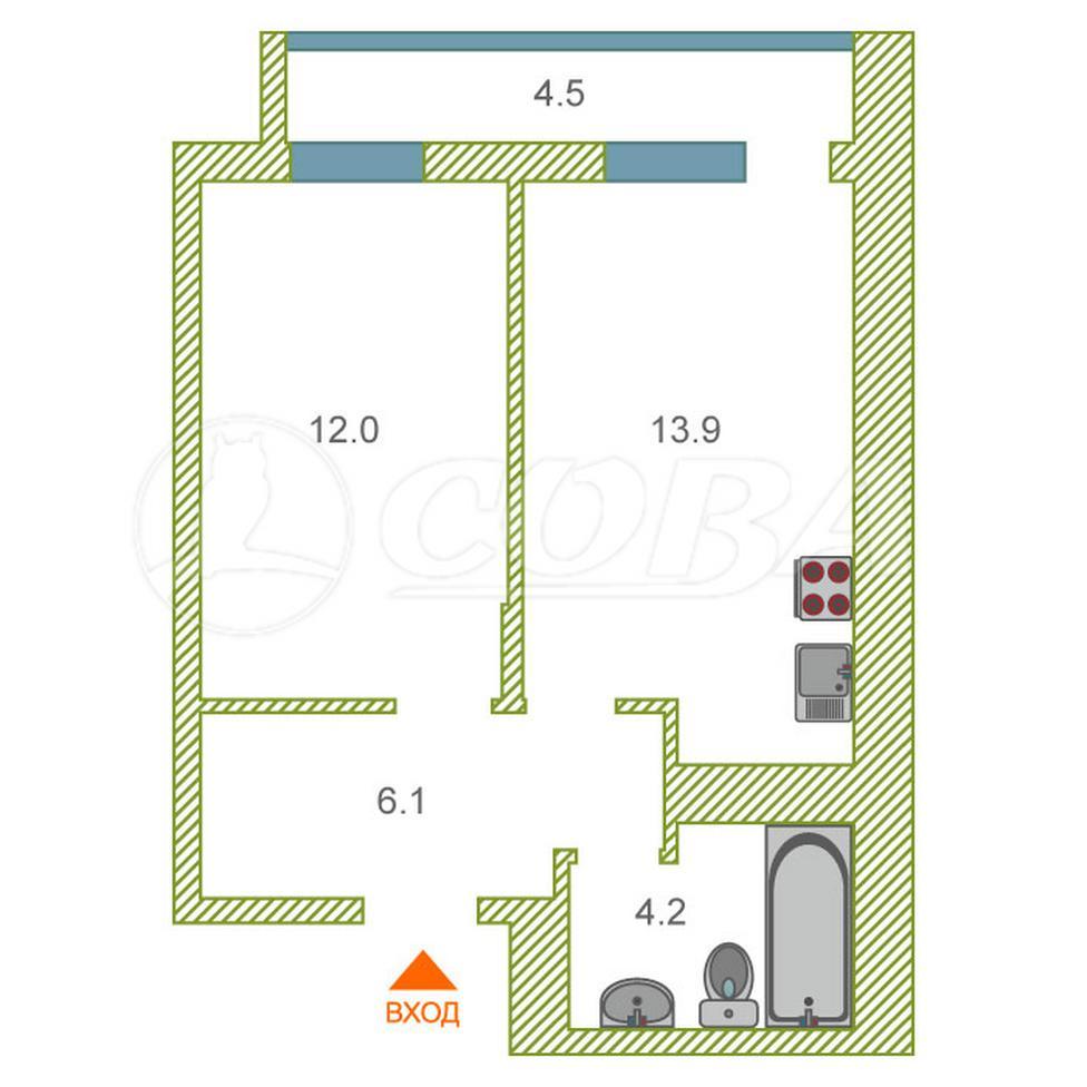 1 комнатная квартира  в районе Метелево, ул. проезд Воронинские горки, 99Б, ЖК «Горки», г. Тюмень