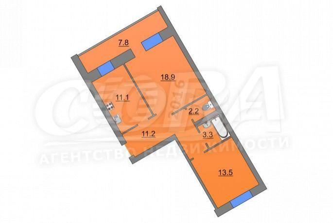 2 комнатная квартира  в районе Маяк, ул. Интернациональная, 138, г. Тюмень