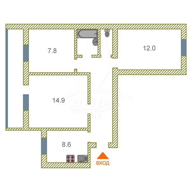 3 комнатная квартира  в районе Драмтеатра, ул. Котовского, 1, г. Тюмень