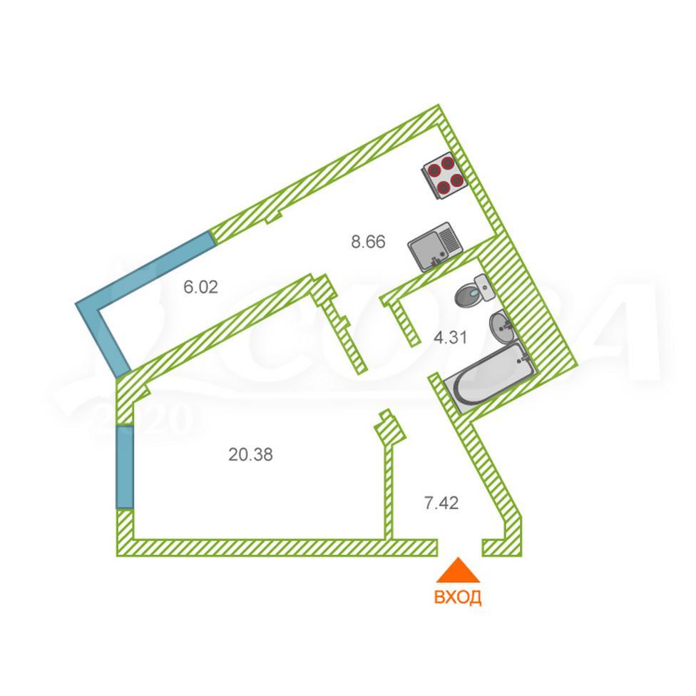 1 комнатная квартира  в районе Ожогина / Патрушева, ул. Константина Посьета, 14, ЖК «Квартал 1964», г. Тюмень