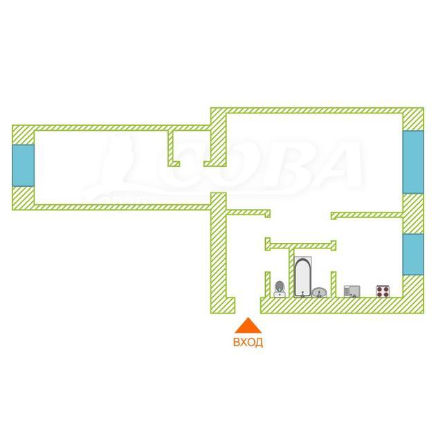 2 комнатная квартира  в районе КПД (Геологоразведчиков), ул. проезд Геологоразведчиков, 21, г. Тюмень