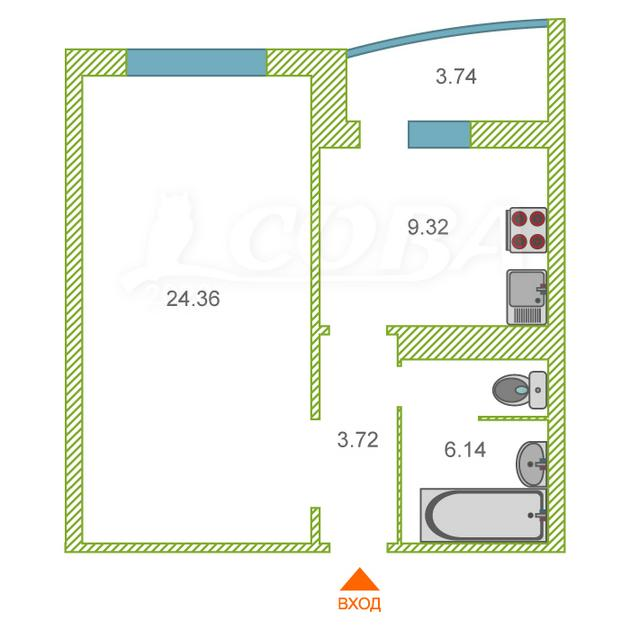 1 комнатная квартира  в районе Тюменская Слобода, ул. Созидателей, 7, ЖК «Комарово», д. Дударева