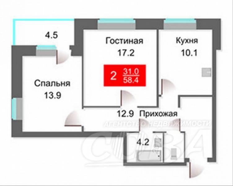 2 комнатная квартира  в Тюменском-4 мкрн., ул. Николая Зелинского, 1, Жилой квартал «на Федорова», г. Тюмень