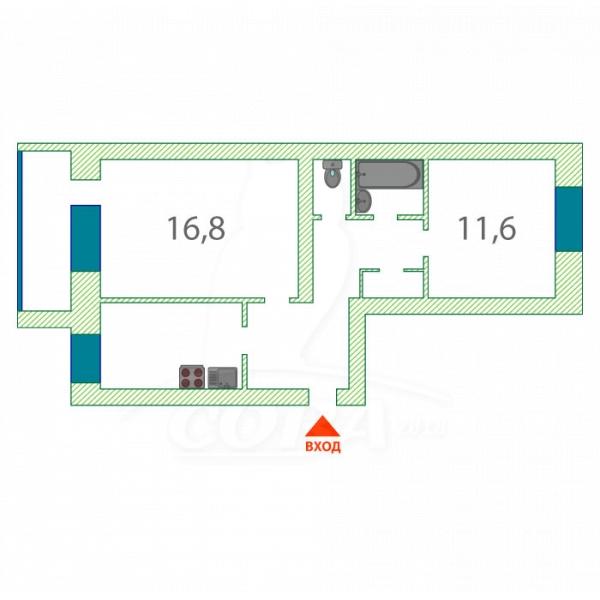 2 комнатная квартира  в районе Дом Обороны, ул. Садовая, 135А, г. Тюмень