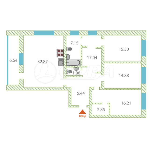 3 комнатная квартира  в новом доме,  в районе Дом Обороны, ЖК «Олимпия», г. Тюмень