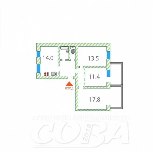 3 комнатная квартира  в районе ММС, ул. Сидора Путилова, 41, г. Тюмень