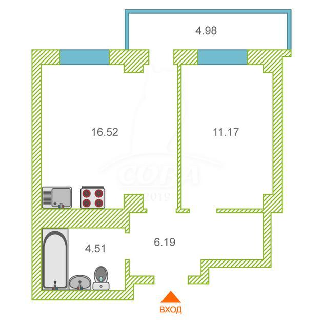 1 комнатная квартира  в районе Ожогина / Патрушева, ул. Константина Посьета, 10, ЖК «Квартал 1964», г. Тюмень