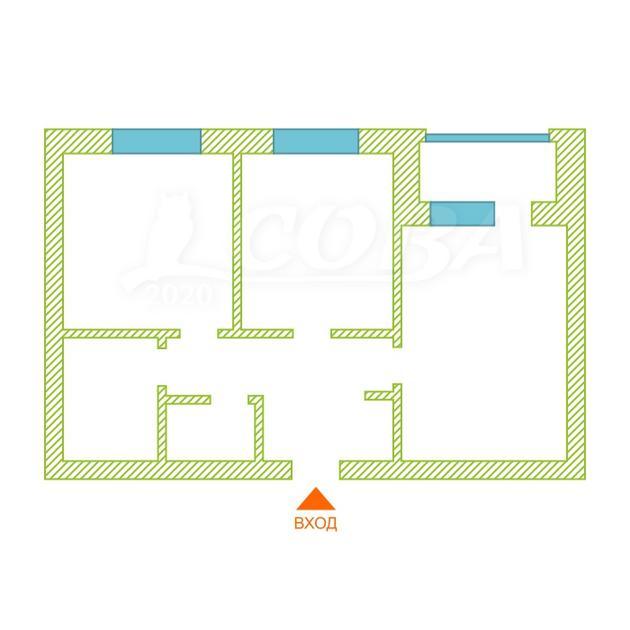 2 комнатная квартира  в районе Тюменская слобода, ул. Вьюжная, 8, ЖК «Преображенский», г. Тюмень