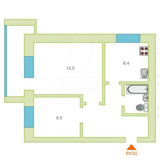2 комнатная квартира  в районе Южный 2/ Чаплина, ул. Мельникайте, 124, г. Тюмень