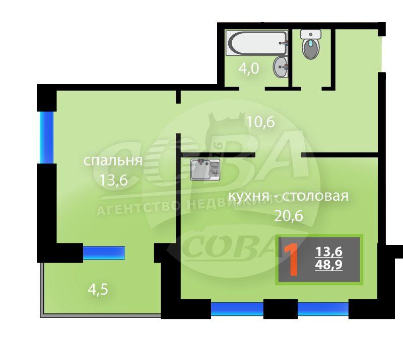 1 комнатная квартира  в районе Суходолье, ул. Бориса Житкова, 4, Жилой комплекс «Суходолье», г. Тюмень