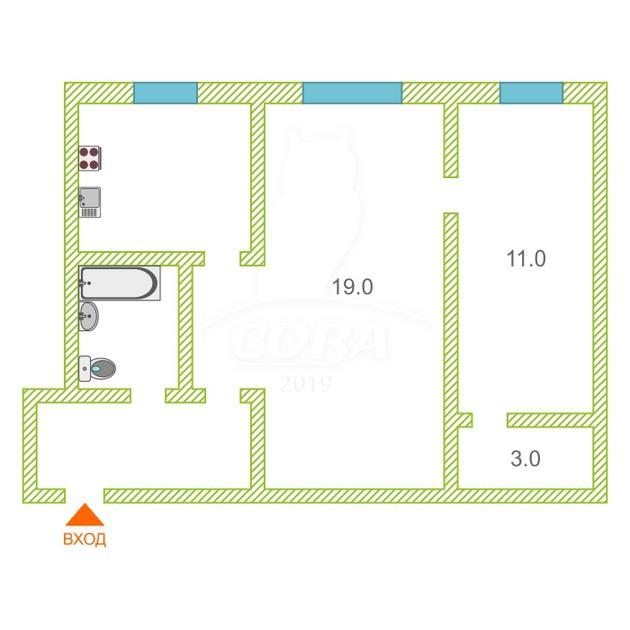 2 комнатная квартира  на КПД у ДК Строитель, ул. Республики, 180, г. Тюмень