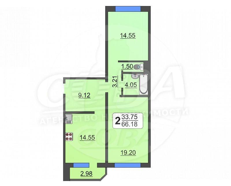 2 комнатная квартира  в Тюменском-4 мкрн., ул. Николая Семенова, г. Тюмень