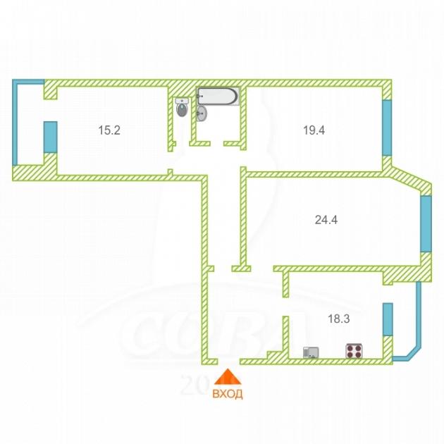 3 комнатная квартира  в Тюменском-3 мкрн., ул. Николая Семенова, 33, г. Тюмень