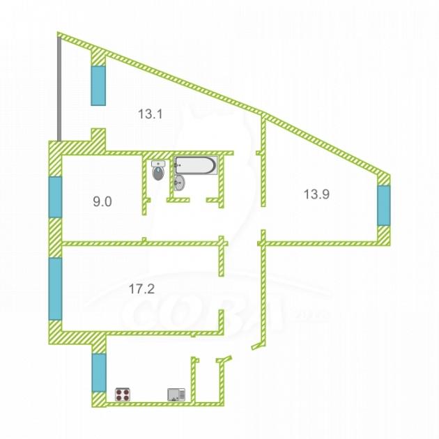 4 комнатная квартира  в Восточном мкрн., ул. Моторостроителей, 1, г. Тюмень
