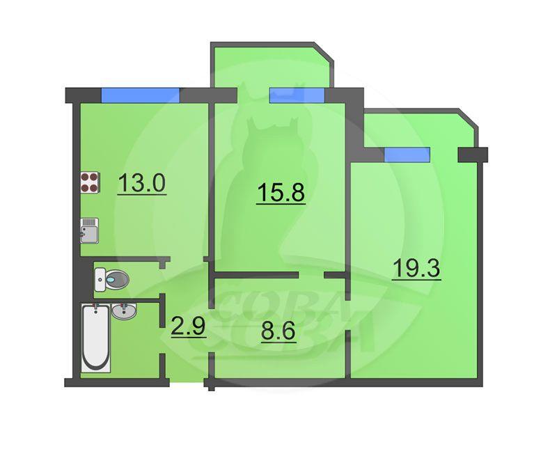 2 комнатная квартира  в районе МЖК, ул. Широтная, 118, г. Тюмень