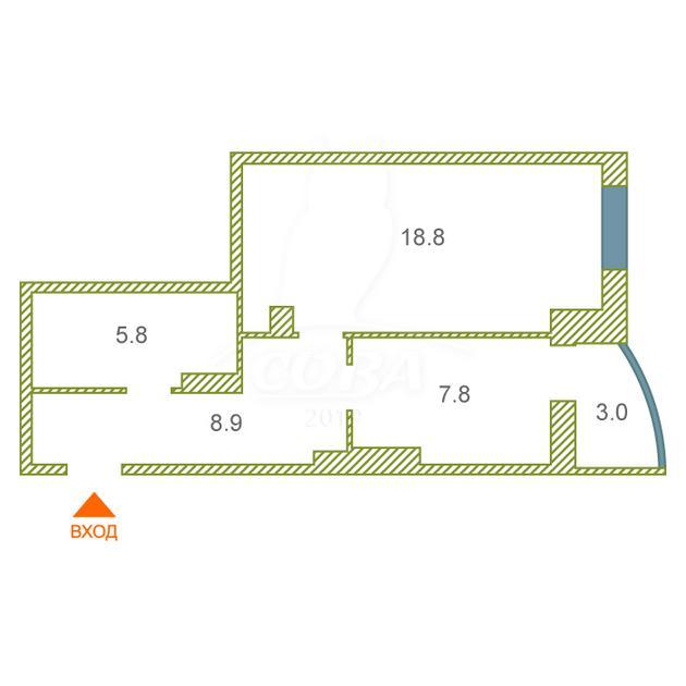 1 комнатная квартира  в Тюменском-2 мкрн., ул. Василия Гольцова, 3, Микрорайон МДС, г. Тюмень