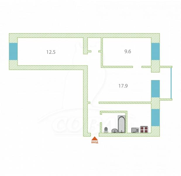 3 комнатная квартира  в районе Нефтегазового университета, ул. Харьковская, 56, г. Тюмень