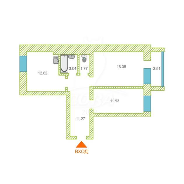 2 комнатная квартира  в районе ММС, ул. Голышева, 10А, Жилой комплекс «Пионер», г. Тюмень