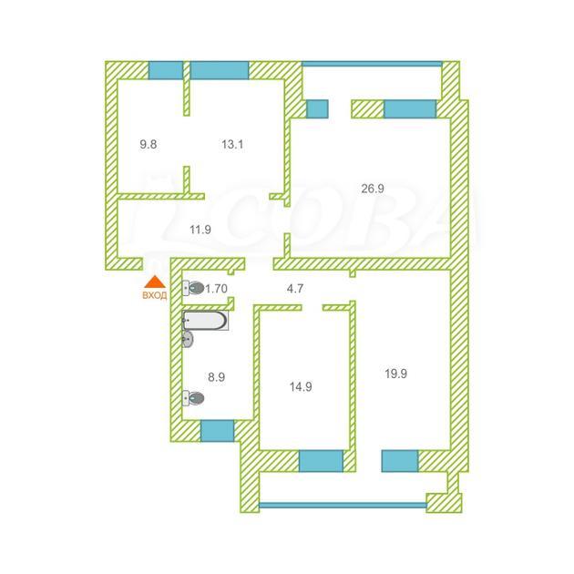3 комнатная квартира  в районе Дом Обороны, ул. Военная, 11, г. Тюмень