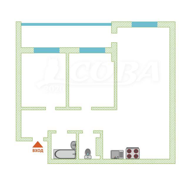 2 комнатная квартира  в Европейском мкрн., ул. Газовиков, 73, ЖК «Европейский берег», г. Тюмень