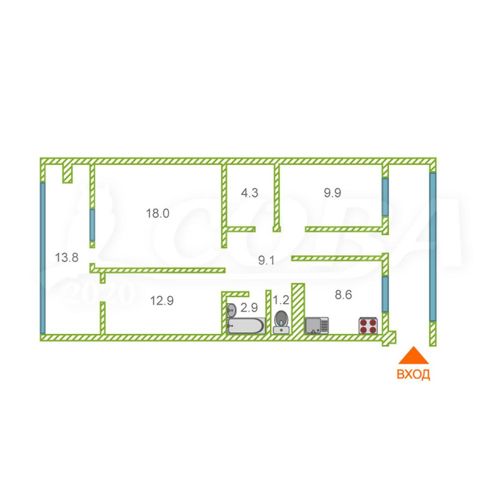 3 комнатная квартира  в районе Донская, ул. Пасечная, 61/2, г. Сочи