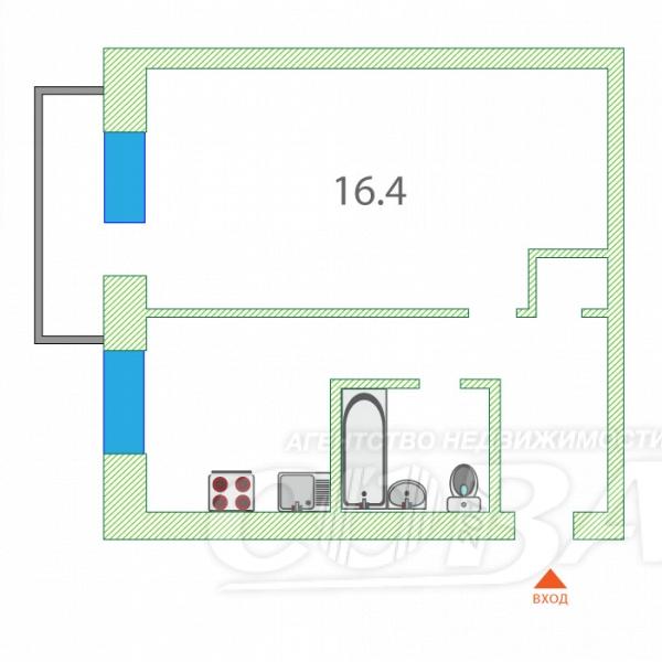1 комнатная квартира  в районе Драмтеатра, ул. Карская, 25, г. Тюмень