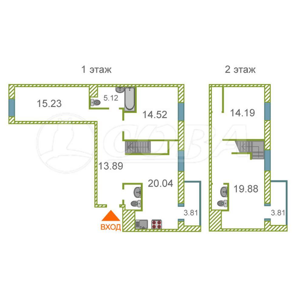 4 комнатная квартира  в районе Мыс, ул. Тимофея Чаркова, 81/2, ЖК «Звездный», г. Тюмень