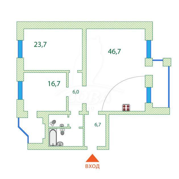 2 комнатная квартира  в районе ТЦ Магеллан, ул. 50 лет Октября, 3, г. Тюмень