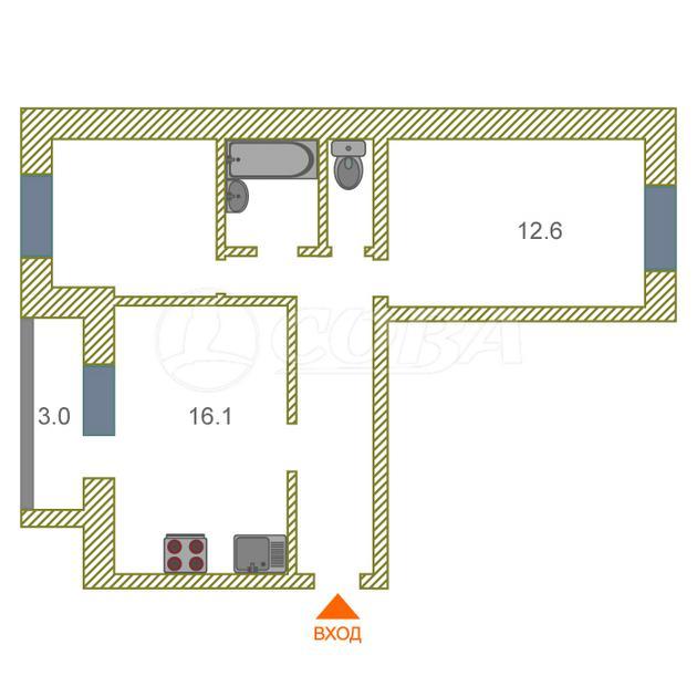 2 комнатная квартира  около сквера им. Немцова, ул. Мориса Тореза, 2, г. Тюмень