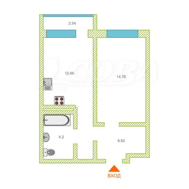 1 комнатная квартира  в районе Тюменская слобода, ул. Василия Подшибякина, 12, Жилой комплекс «Гармония», г. Тюмень