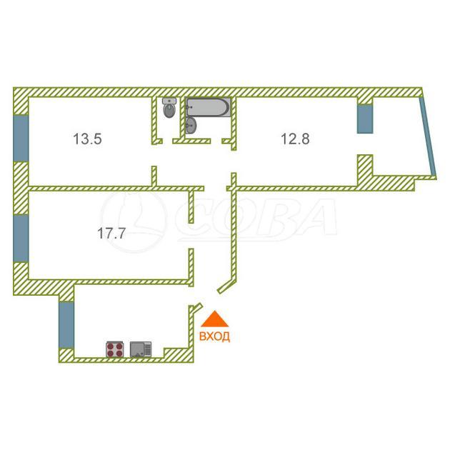 3 комнатная квартира  в 6 микрорайоне, ул. Валерии Гнаровской, 5, г. Тюмень