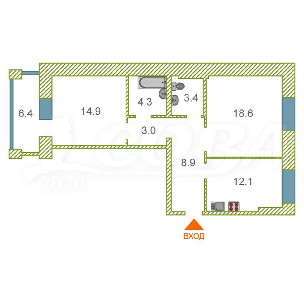 2 комнатная квартира  в районе Лесобаза (Тура), ул. Лесопарковая, 13А, г. Тюмень