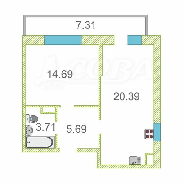 1 комнатная квартира  в районе Нагорный Тобольск, ул. 15-й микрорайон, 39, ЖК «Знаменский», г. Тобольск