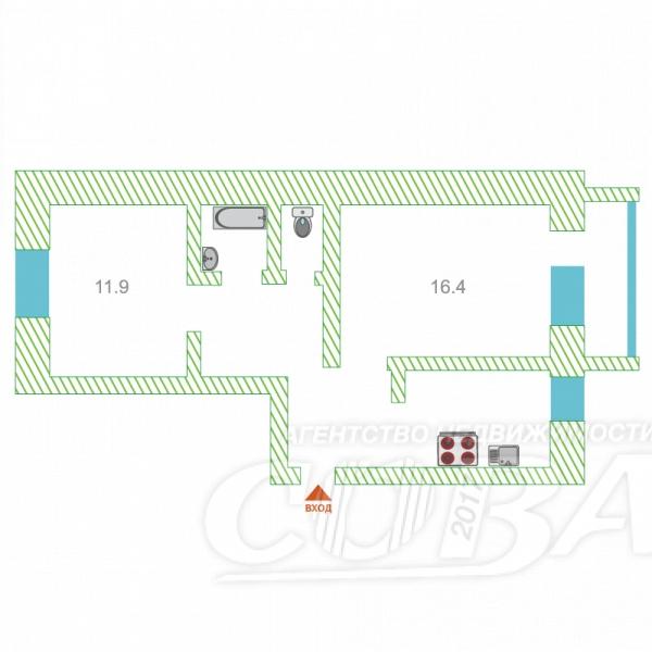 2 комнатная квартира  в районе Центральный, ул. Энтузиастов, 47, г. Сургут