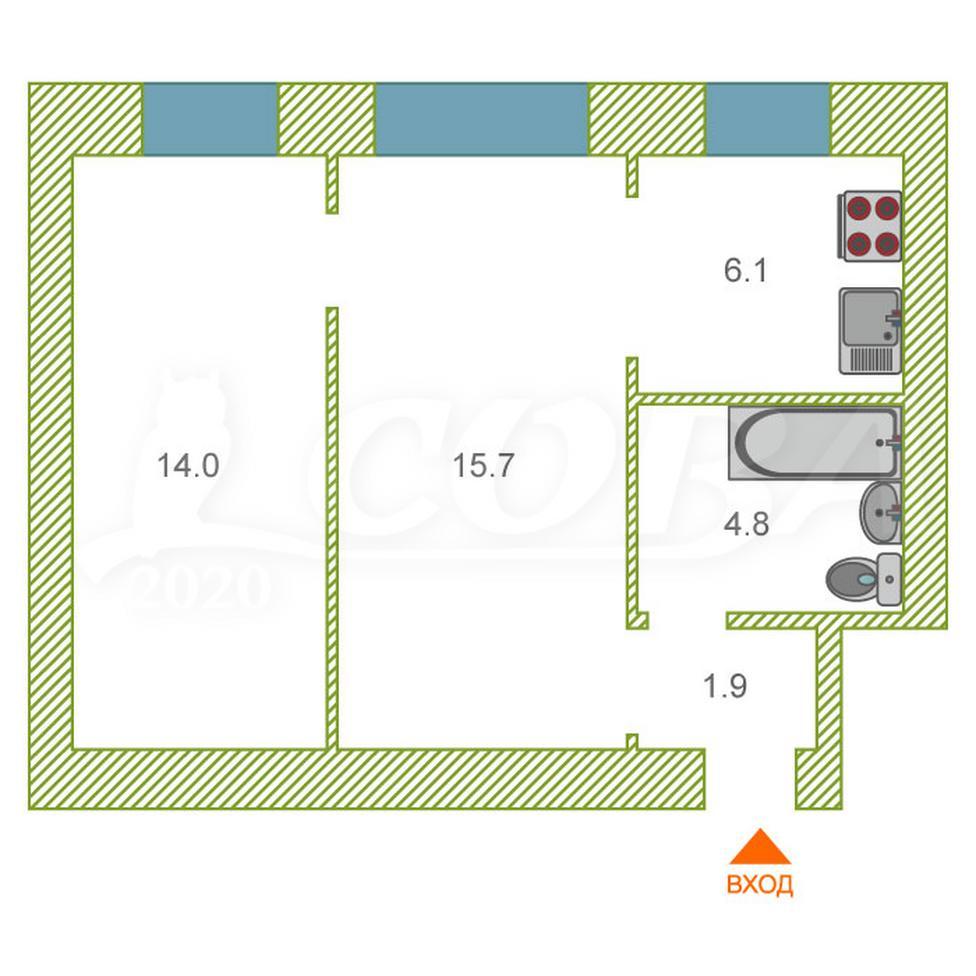 2 комнатная квартира  в районе Центральный, ул. Коли Мяготина, 87, г. Курган