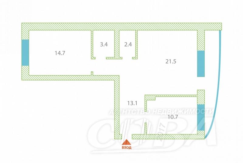 2 комнатная квартира  в Тюменском мкрн., ул. Николая Гондатти, 1, г. Тюмень