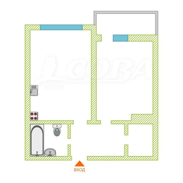 1 комнатная квартира  в районе Тюменская слобода, ул. Александра Протозанова, 10, ЖК «Преображенский», г. Тюмень