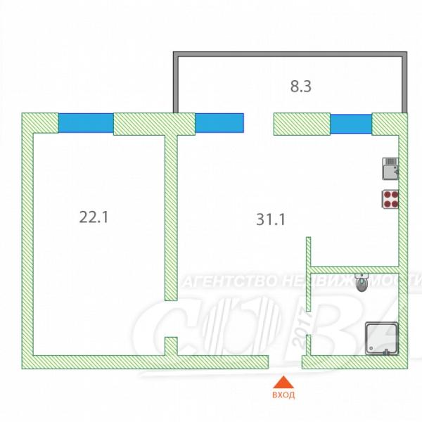 2 комнатная квартира  в Заречном 2 мкрн., ул. Солнечный проезд, 7, г. Тюмень