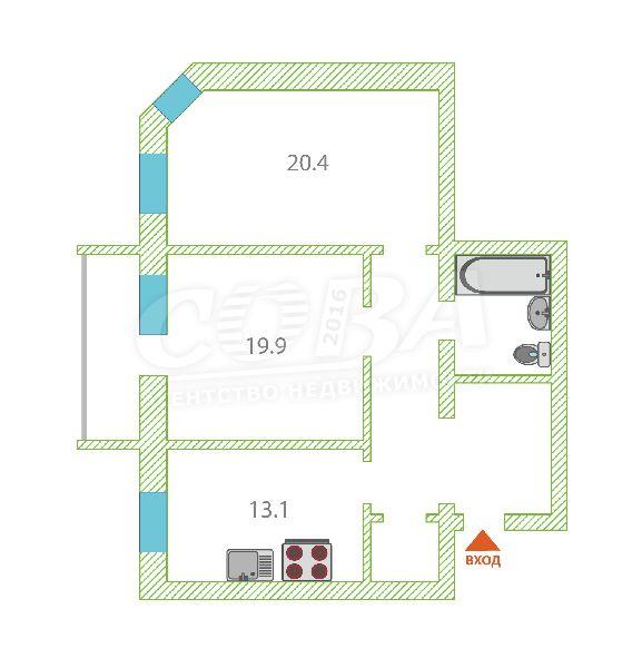 2 комнатная квартира  в центре Тюмени, ул. Грибоедова, 15, г. Тюмень