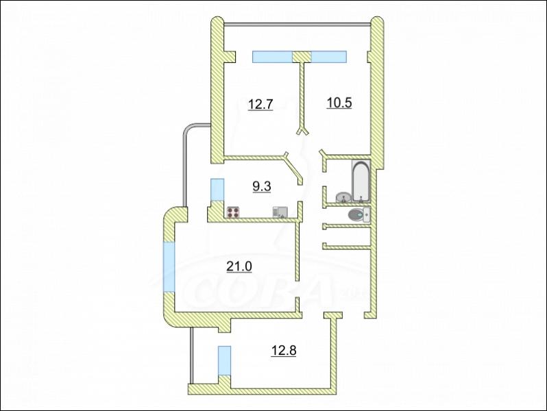 4 комнатная квартира  в Восточном мкрн., ул. Моторостроителей, 4, г. Тюмень