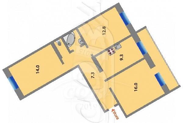 3 комнатная квартира  в районе Южный 2/ Чаплина, ул. Инженерная, 72, г. Тюмень