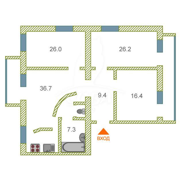 4 комнатная квартира  в историческом центре, ул. Хохрякова, 9, г. Тюмень