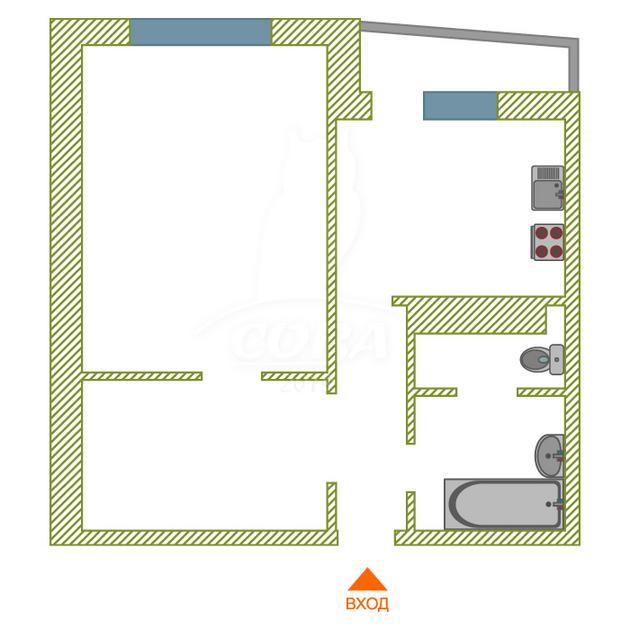 1 комнатная квартира  в Тюменском-3 мкрн., ул. Бориса Опрокиднева, 12, Жилой комплекс «на Менделеева», г. Тюмень