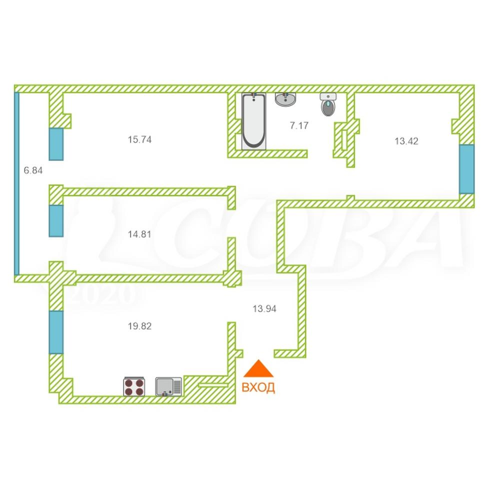3 комнатная квартира  в районе Плеханово, ул. Кремлевская, 112/1, ЖК «Плеханово», г. Тюмень