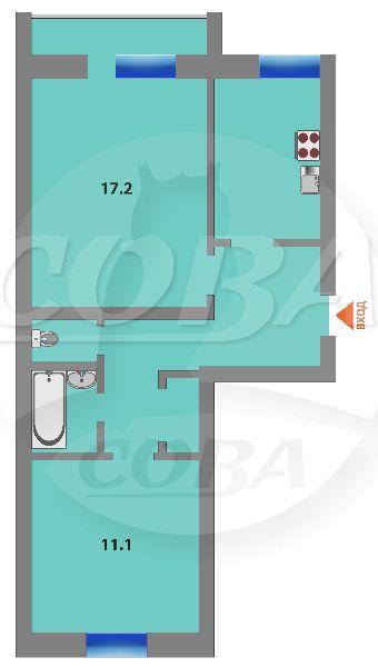2 комнатная квартира  в Заречном мкрн., ул. Щербакова, 86, г. Тюмень