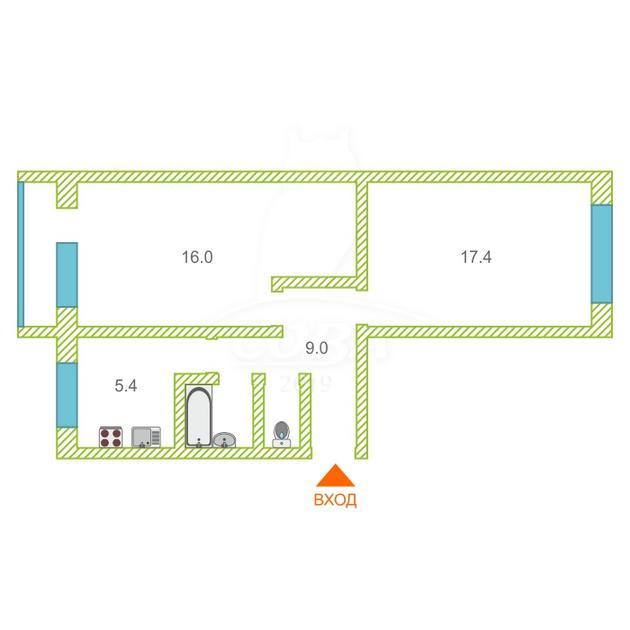 2 комнатная квартира  в районе Ватутина, ул. Ветеранов Труда, 5, г. Тюмень
