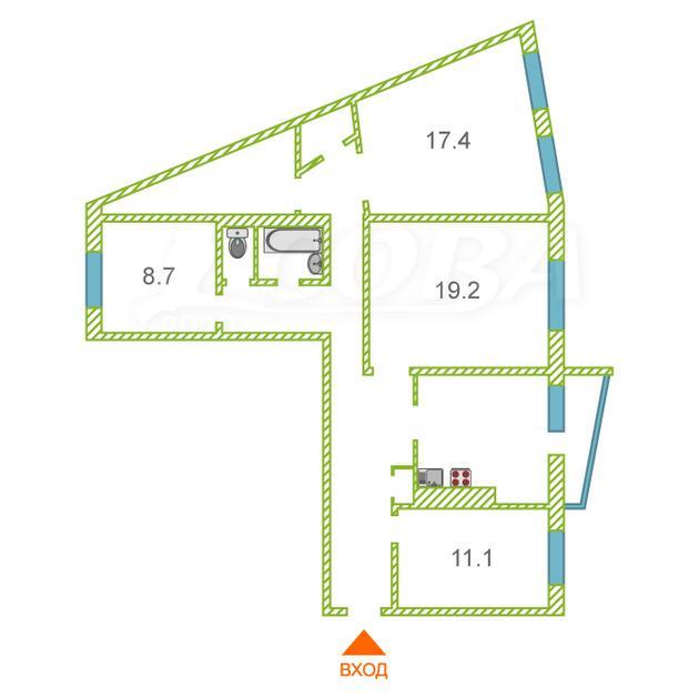 4 комнатная квартира  в районе УБР, ул. Профсоюзов, 12, г. Сургут