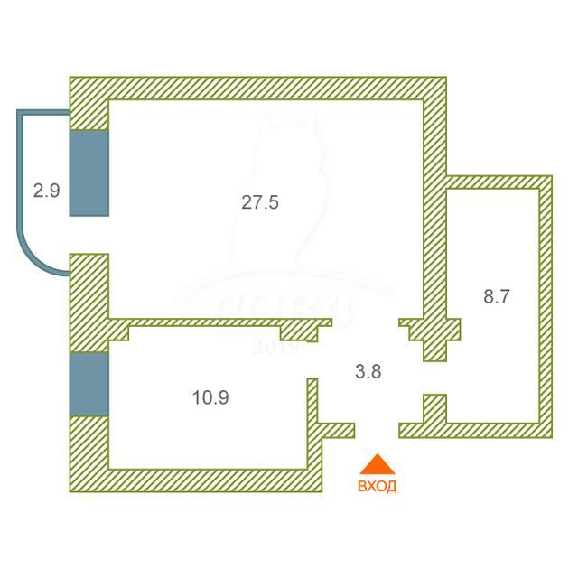 1 комнатная квартира  в Восточном 2 мкрн., ул. Энергостроителей, 22, г. Тюмень